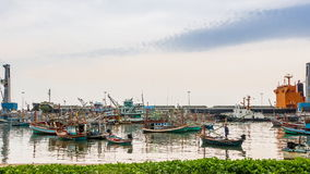 Fishing boat at jetty stock footage