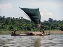 Fishing boat on Kaladan River Stock Photos