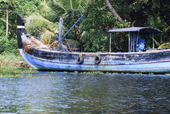 Fishing boat in the Kerala backwaters Stock Photo