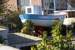 The fishing boat La Dorada, made famous in the 1980s TV series Verano Azul now in park in Nerja Spain Stock Images