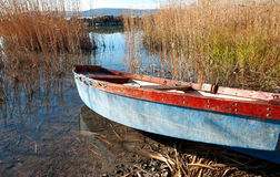 Fishing boat on Lake Balaton Stock Images