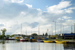 The fishing boat. Lake Dabie Royalty Free Stock Photos