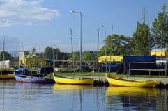 The fishing boat. Lake Dabie Royalty Free Stock Photo