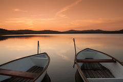 Fishing boat on the lake Stock Photography