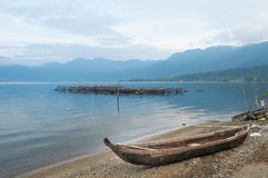 Fishing boat at Lake Maninjau (Danau Maninjau) in the morning Stock Photography