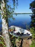 Fishing boat at lake Mien,Sweden Royalty Free Stock Photo