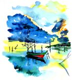 Fishing boat on the lake or river in harmony with nature royalty free illustration