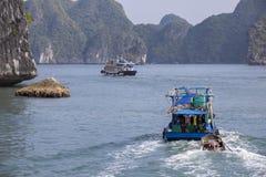 Fishing boat in Lanh Ha Bay stock image
