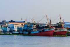 Fishing boat. Large fishing boats moored along the Tha Chin River in Thailand royalty free stock photo