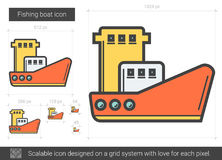 Fishing boat line icon. Fishing boat vector line icon isolated on white background. Fishing boat line icon for infographic, website or app. Scalable icon Royalty Free Stock Photography