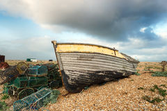 Fishing Boat and Lobster Pots Royalty Free Stock Photo