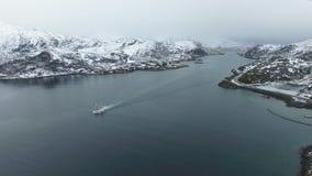 The fishing boat in Lofoten islands stock footage