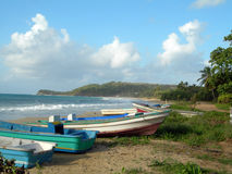 Fishing boat long bay beach corn island nicaragua Royalty Free Stock Photography