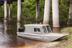 Fishing boat in Louisiana swamp Royalty Free Stock Image