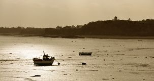 Fishing Boat at low tide Stock Photos