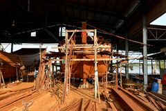 Fishing Boat making @ Teluk Intan royalty free stock photography