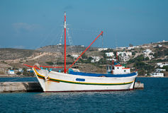 Fishing boat at marina on the island Stock Images