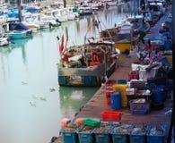 Fishing boat in a marina royalty free stock photography