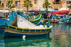 Fishing boat in Marsaxlokk Royalty Free Stock Images