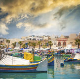 Fishing boat in Marsaxlokk Stock Photography