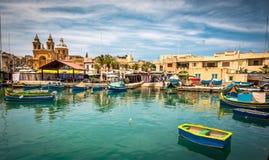 Fishing boat in Marsaxlokk Stock Photo