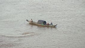 Fishing boat,  mekong , cambodia, southeast asia. Southeast asia , Cambodia.  Typical  fishing boat  on  Mekong  river stock footage