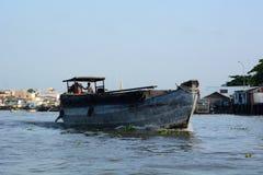 Fishing boat. Mekong delta floating market. Cai Be. Vietnam Stock Images