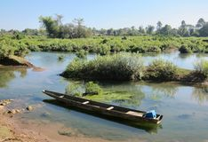 Fishing boat on the Mekong. 4000 islands, Don Det, Laos Royalty Free Stock Photography
