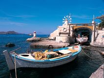 Fishing boat in Milos. Small fishing harbor in Milos Island Greece Stock Images