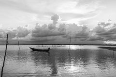 Fishing boat. Is moored at the Coast in sunshine in south of Thailand,black and white picture style Royalty Free Stock Image