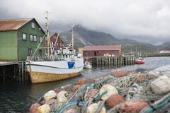 Fishing boat moored on the Lofoten Islands Norway Royalty Free Stock Image