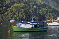 Fishing boat moored at the mouth of the river Royalty Free Stock Image