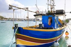 Malta fishing Boat. Fishing boat moored in the port of Marsaxlok in the island of Malta Royalty Free Stock Images