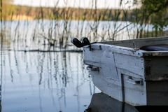 A fishing boat moored to the shore of the lake. Old fishermen& x27;s. Boat prepared for fishing on lakes. Season of the spring Stock Photos