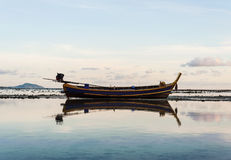Fishing boat with morning light Stock Images