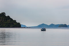 Fishing boat in the morning sea Royalty Free Stock Photo
