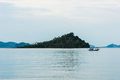 Fishing boat in the morning sea Stock Images