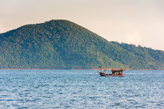 Fishing boat in the morning sea Stock Image