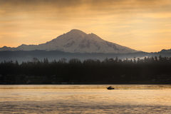 Fishing Boat and Mt. Baker Stock Photography