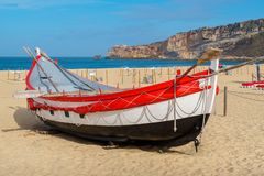 Fishing boat. Nazare, Portugal royalty free stock photography