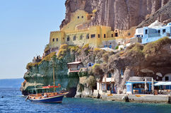 Fishing boat near the port of Fira Stock Image