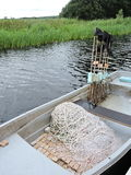 Fishing boat with net Royalty Free Stock Images