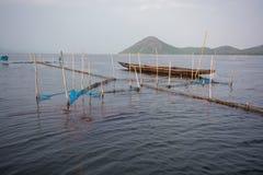 Fishing boat and fishing net pattern at chilika lake rambha