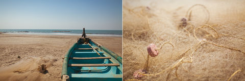 Fishing boat and nets Royalty Free Stock Images