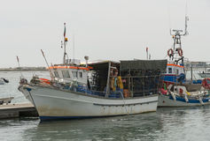 Fishing boat with nets in portugal Royalty Free Stock Images