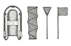 Fishing boat and nets vector hand drawing set.  Stock Photo