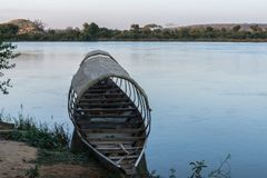 Fishing boat on the niger river, Niger royalty free stock image