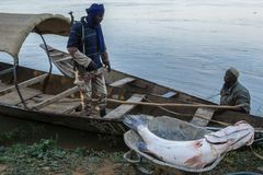 Fishing boat on the niger river, Niger royalty free stock photo