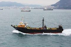 Fishing-boat No.507. Busan, South Korea - November 23th, 2015: Busan, road of the port of Busan, anchorage of sea vessels, crosses the South Korea fishing vessel Royalty Free Stock Photography