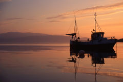 Fishing boat in norway royalty free stock photography